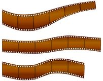 Filmstrips. Set of bent filmstrips over white Royalty Free Stock Image