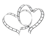 Filmstrips. Two filmstrips in hearts shape. Isolated over white Stock Image