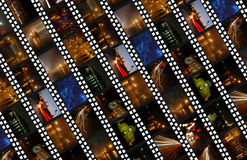 Filmstrips background with night cityscapes Royalty Free Stock Photography