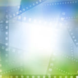 Filmstrips. Blue and green background Stock Image