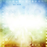 Filmstrips. Blue and orange background Stock Image
