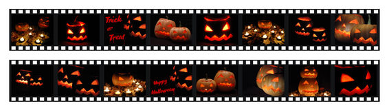 Filmstrips with halloween photo shots royalty free stock photography