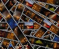 Filmstrips with night city landscapes - background. Filmstrips with night city scenes - Odessa,Regensburg,Kamenec-Podolsky Stock Images