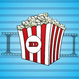 Filmstrips and a popcorn icon hd  eps 10. Filmstrips and a popcorn icon hd  eps10 Royalty Free Stock Images