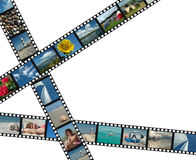 Filmstrips with summer vacation photos. Filmstrips with summer vacation travel  photos Stock Image