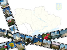 Filmstrips with ukrainian travel shots and map. Background with ukrainian travel shots ,map and coat of arms Royalty Free Stock Photo
