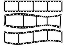 Filmstrips on White. Three blank filmstrip illustrations of different contours isolated on white background Stock Image