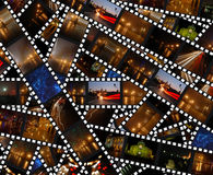 Filmstrips With Night City Landscapes - Background Stock Images