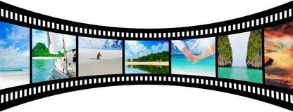 Filmstrook met mooie vakantiebeelden Stock Foto's