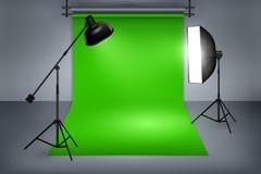 Filmstudio mit grünem Schirm Lizenzfreie Stockfotografie
