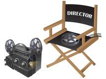 Filmstuhl mit videoprojektor Stockfotos