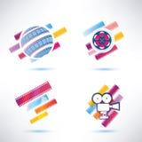 Filmsymbolsuppsättning vektor illustrationer