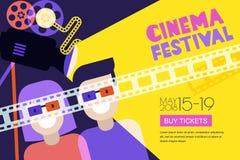 Filmtid, datum på biobegreppet Affisch för vektorbiofestival, reklambladbakgrund Sale etiketterar banerbakgrund stock illustrationer