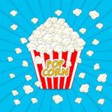 Filmtid Illustration för popcornaskvektor vektor illustrationer