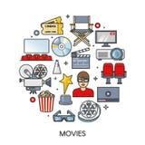 Filmu element ustawiający w round formie Kinowe ikony inkasowe Konturu mieszkania odosobniona wektorowa ilustracja Zdjęcie Royalty Free