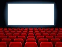 Filmu premiera wydarzenie przy cine theatre Kinowy biały pusty ekran przy film sala wnętrzem z pustymi siedzeniami wektorowymi royalty ilustracja