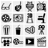 Filmvektorikone eingestellt auf Grau Lizenzfreie Stockfotos