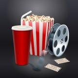 Filmvisning med popcorn, filmrullen och drinkar vektor illustrationer