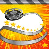 Filmy Background. Vector illustration of film strip roll on conema background Stock Photos