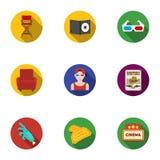 Filmy i kino ustalone ikony w mieszkaniu projektują Duża kolekcja filmy i kinowy wektorowy symbol zaopatrujemy ilustrację Obrazy Royalty Free