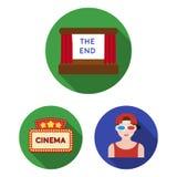 Filmy i kinowe płaskie ikony w ustalonej kolekci dla projekta Filmy i atrybutu wektorowy symbol zaopatrują sieci ilustrację Fotografia Royalty Free