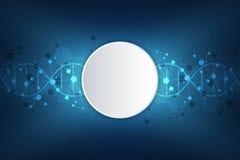 Filo del DNA e struttura molecolare Ingegneria o ricerca genetica del laboratorio Struttura del fondo per medico o royalty illustrazione gratis