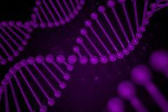 Filo del DNA su fondo nero Fotografia Stock Libera da Diritti