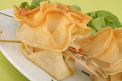 Filo pastry canape. Canape food, filo pastry, buffet Royalty Free Stock Photography
