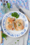 Filo pastry envelopes with chicken Stock Photos