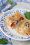 Filo pastry envelopes with chicken Royalty Free Stock Photography