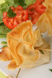 Filo pastry and salad. Filo pastry, canape food and salad Royalty Free Stock Photo