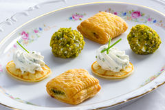Filo pasty, Miniblini, chicken liver. Fingerfood with Filo pasty, Miniblini, chicken liver and cream cheese Royalty Free Stock Image