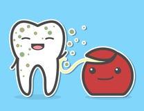 Filo per i denti che pulisce dente sporco Fotografia Stock
