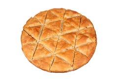 Filo pie. Baked filo pie on white Stock Images