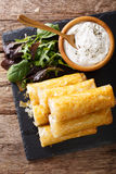 Filo rolls stuffed with minced meat and eggs close-up and yogurt Stock Image