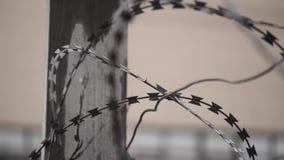 Filo spinato sulla parete della prigione stock footage
