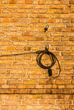 Fils électriques fixés au mur de briques. Image stock