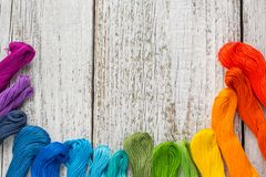 Fils de couture colorés pour la broderie sur le fond blanc Photographie stock
