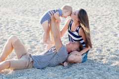 Fils de papa de maman chez Pebble Beach Photo libre de droits