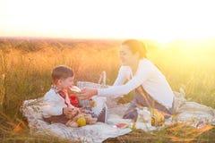 Fils de petit garçon et sa mère enceinte sur un pique-nique un beau jour d'automne ou d'été Famille heureuse et concept sain de c Photos libres de droits