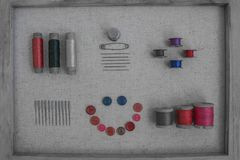 Fils et boutons de vintage Image libre de droits
