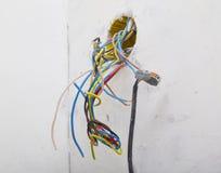 Fils liés au câble électrique Images stock