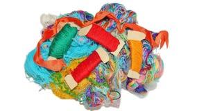 Fils multicolores de soie Texture colorée de fond Photo libre de droits