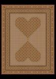 Filt i ett ljus - brunt tonar med mönstrade hjärtor i mitten Royaltyfri Bild