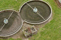 Filter beds in sewage treatment works Stock Images