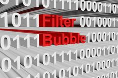Filter bubble. In the form of binary code, 3D illustration Stock Images