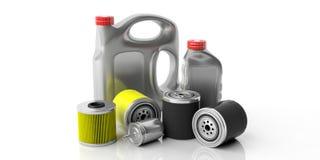 Filter för bränsle och för olja för bilmotor och oljakanistrar som isoleras mot vit bakgrund illustration 3d royaltyfri illustrationer