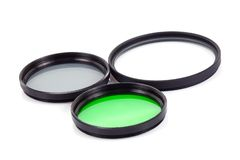Filter für Objektive auf Weiß Stockfotografie