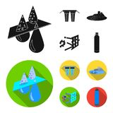 Filter, filtration, nature, eco, bio .Water filtration system set collection icons in black, flat style vector symbol. Stock illustration Royalty Free Stock Photography