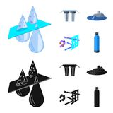 Filter, filtration, nature, eco, bio .Water filtration system set collection icons in cartoon,black style vector symbol. Stock illustration Royalty Free Stock Images